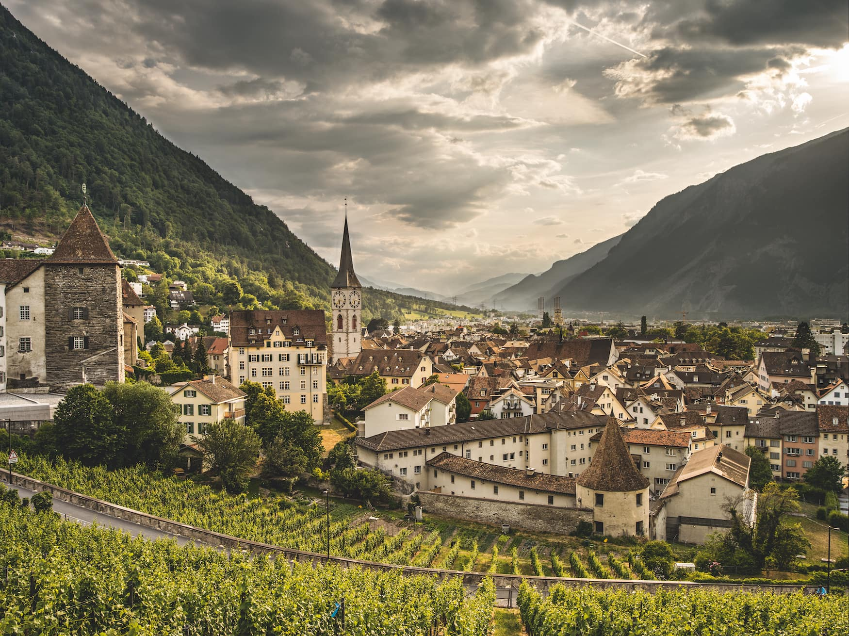 Kirche St.Martin in der Altstadt von Chur, Schweiz.