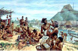Alltagsleben in Cahokia Mounds, Zeichnung von Michael Hampshire