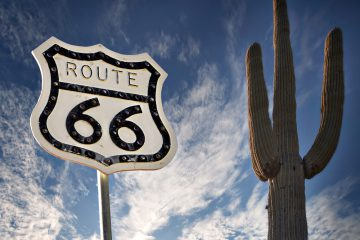 Info-Schild der Route 66 in Arizona