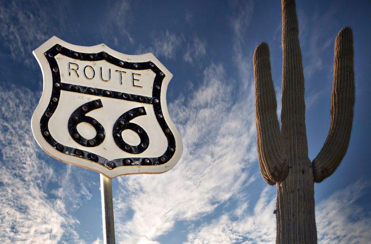 Info-Schild der Route 66 in Arizona