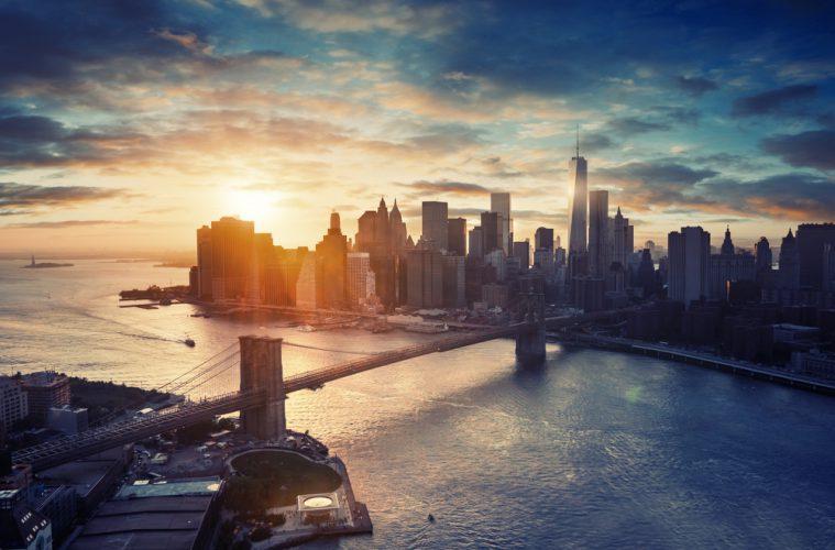Blick auf die Skyline von Manhattan in New York City