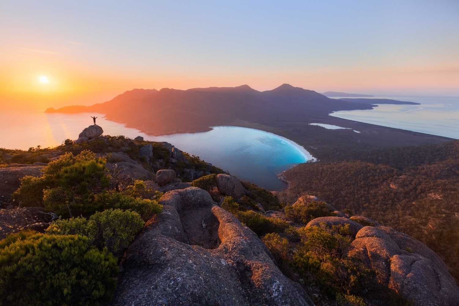 Wineglass Bay, one of the top 10 beaches in the world. Itâ€Â™s graced the cover of many a glossy brochure for good reason – itâ€Â™s simply spectacular.